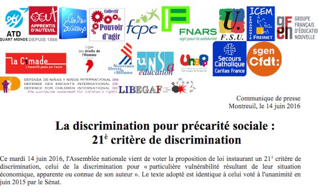 14 juin 2016 : La précarité sociale devient le 21ème critère de discrimination