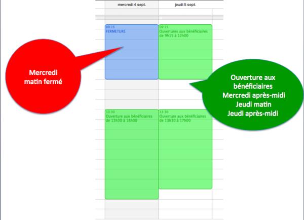Septembre 2013, nouveaux horaires d'ouverture