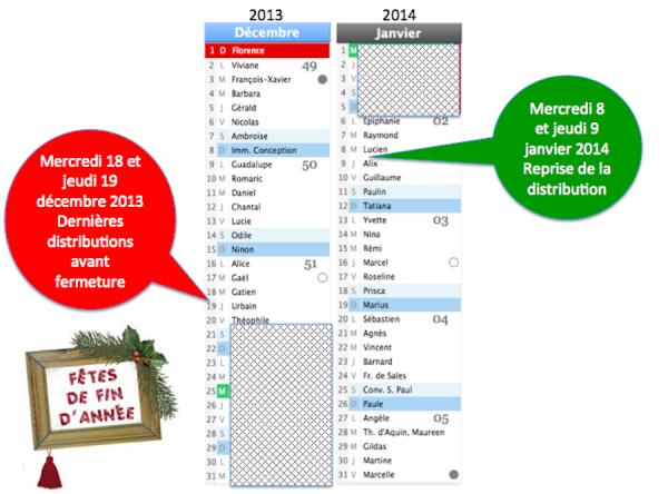 Fermeture fêtes de fin d'année 2013
