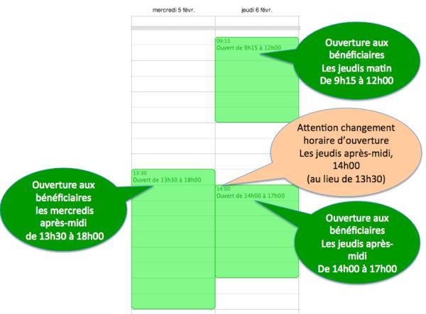A partir de Février 2014, changement horaire ouverture du jeudi