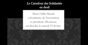 Le Carrefour des Solidarités en deuil, décès de Marie-Odile Hinard, cofondatrice et présidnte d'honneur de l'association.
