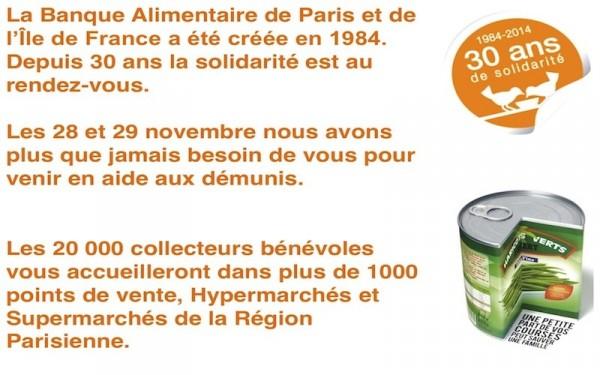 Collecte alimentaire les 28 et 29 novembre 2014