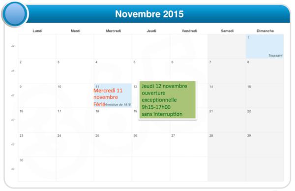 Novembre 2015 ouverture exceptionnelle