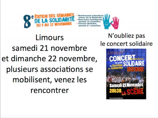 Du 9 au 22 Novembre : semaines de la solidarité à Limours