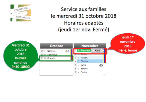Service aux familles : horaires adaptés mercredi 31 oct. 2018