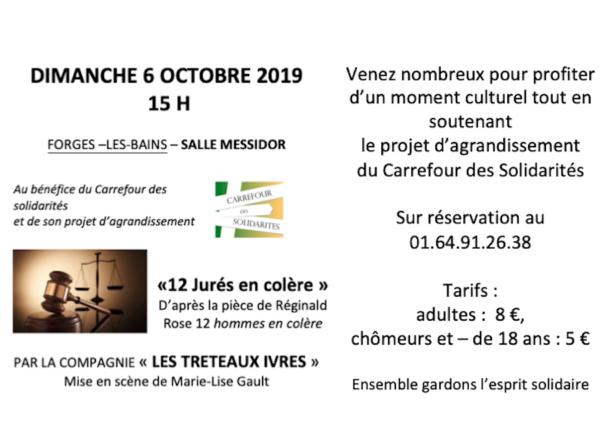 """Dimanche 6 octobre 2019 à 15h : Théâtre """"12 jurés en colère"""""""