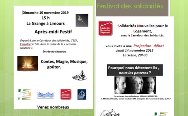Festival des solidarités novembre 2019