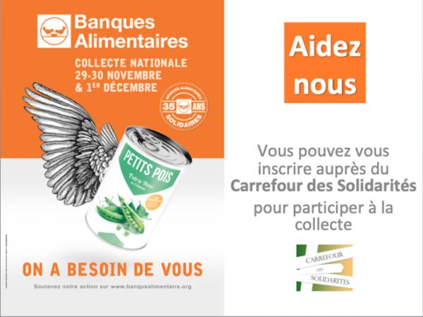Participez à la collecte alimentaire les 29-30nov. et 1er décembre 2019