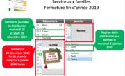 Fermeture fêtes de fin d'année 2019