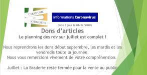 Rdv pour dons articles complet en juillet