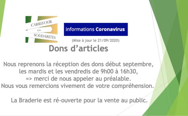 Dons d'articles à partir de septembre 2020