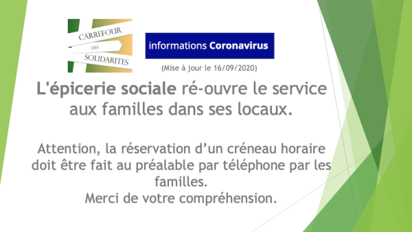 L'épicerie sociale ré-ouvre le service aux familles dans ses locaux.