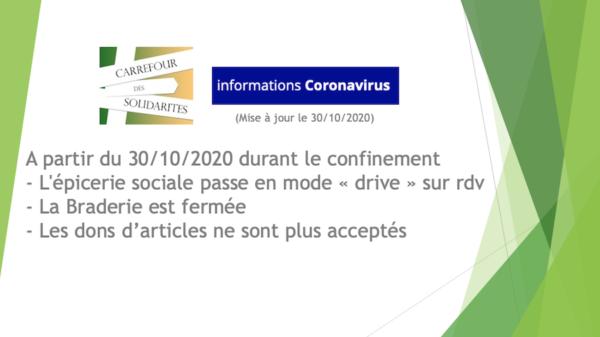 Nouveau confinement : impacts Epicerie/Braderie