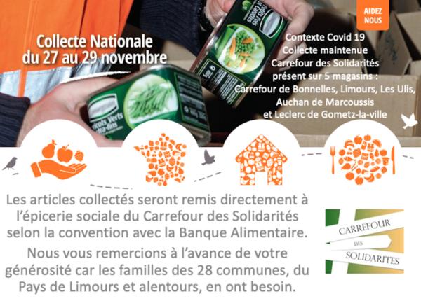Collecte alimentaire 27-28-29 nov. 2020, aidez nous !