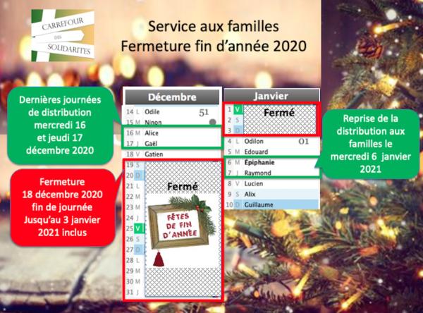Fermeture fêtes de fin d'année 2020