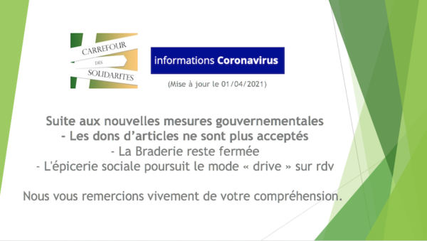 Braderie : suspension de l'acceptation des dons d'articles