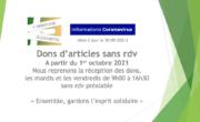 Braderie : 1er oct 2021 reprise des dons sans rdv
